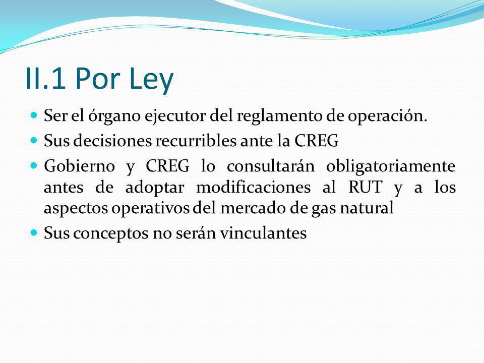 II.1 Por Ley Ser el órgano ejecutor del reglamento de operación. Sus decisiones recurribles ante la CREG Gobierno y CREG lo consultarán obligatoriamen