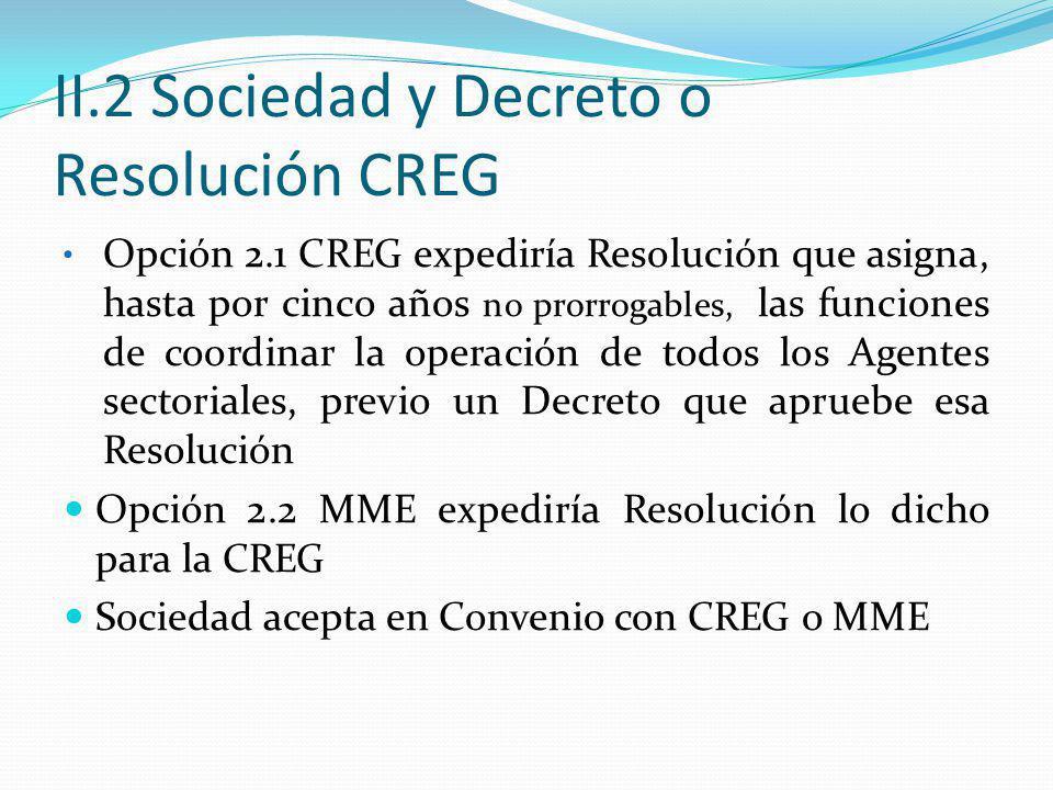 II.2 Sociedad y Decreto o Resolución CREG Opción 2.1 CREG expediría Resolución que asigna, hasta por cinco años no prorrogables, las funciones de coordinar la operación de todos los Agentes sectoriales, previo un Decreto que apruebe esa Resolución Opción 2.2 MME expediría Resolución lo dicho para la CREG Sociedad acepta en Convenio con CREG o MME