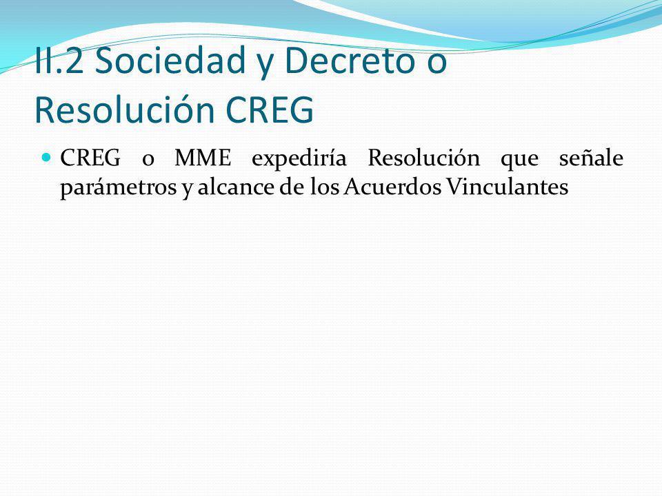 II.2 Sociedad y Decreto o Resolución CREG CREG o MME expediría Resolución que señale parámetros y alcance de los Acuerdos Vinculantes
