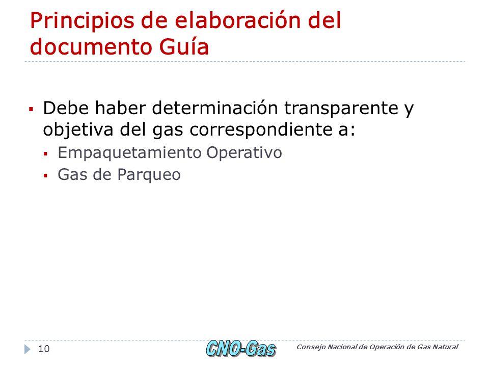 Principios de elaboración del documento Guía Debe haber determinación transparente y objetiva del gas correspondiente a: Empaquetamiento Operativo Gas de Parqueo Consejo Nacional de Operación de Gas Natural 10