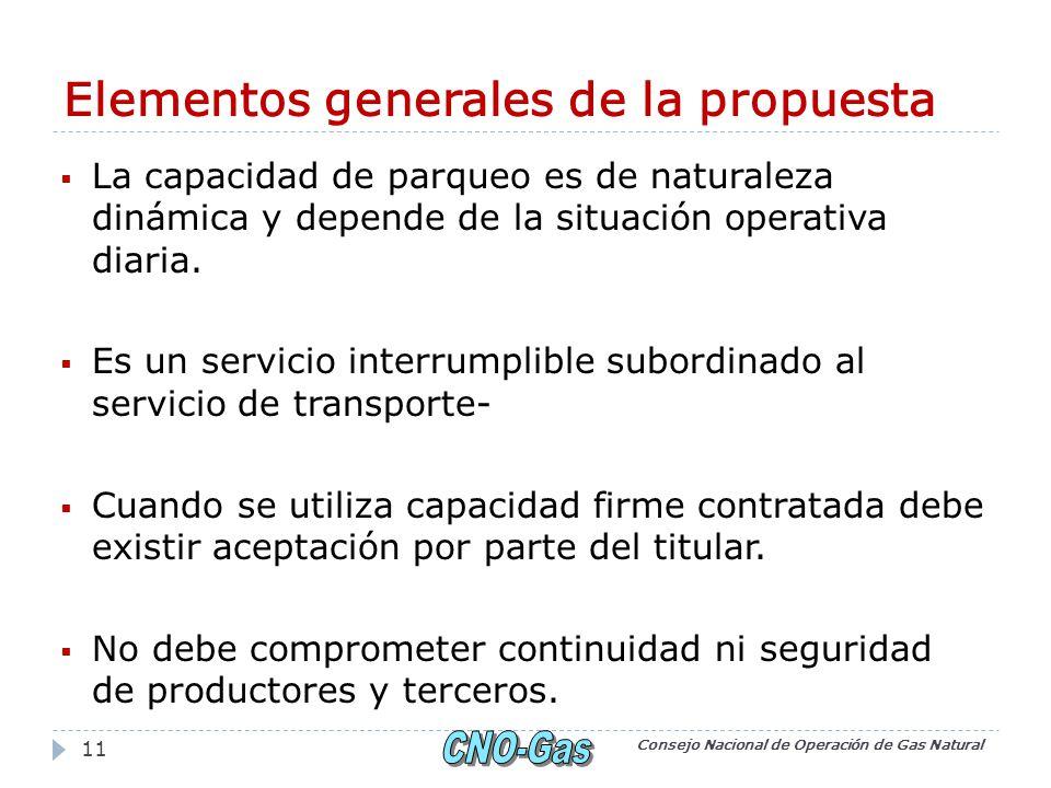Elementos generales de la propuesta La capacidad de parqueo es de naturaleza dinámica y depende de la situación operativa diaria.