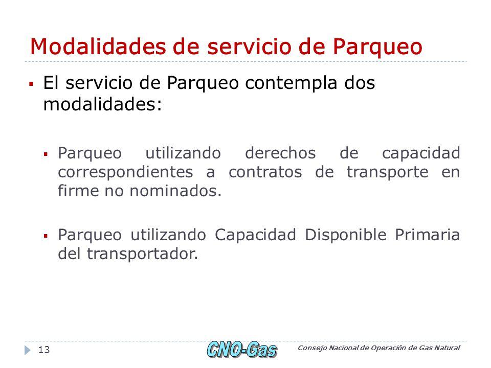 Modalidades de servicio de Parqueo El servicio de Parqueo contempla dos modalidades: Parqueo utilizando derechos de capacidad correspondientes a contratos de transporte en firme no nominados.