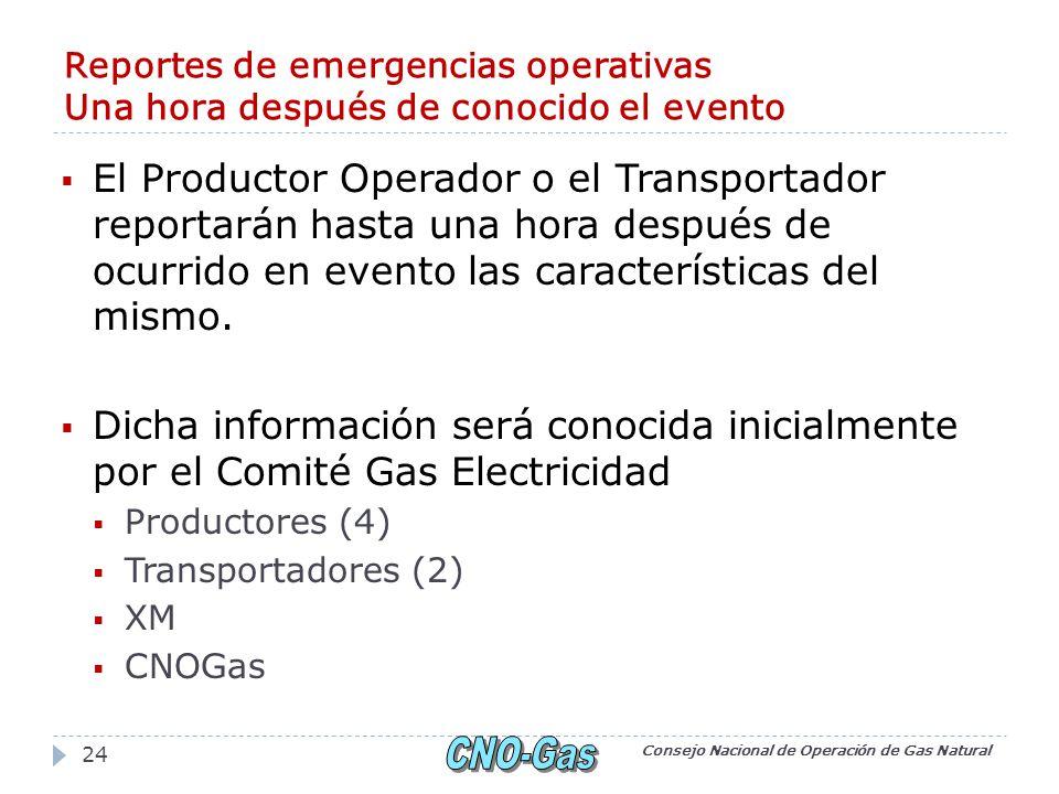 Reportes de emergencias operativas Una hora después de conocido el evento El Productor Operador o el Transportador reportarán hasta una hora después de ocurrido en evento las características del mismo.