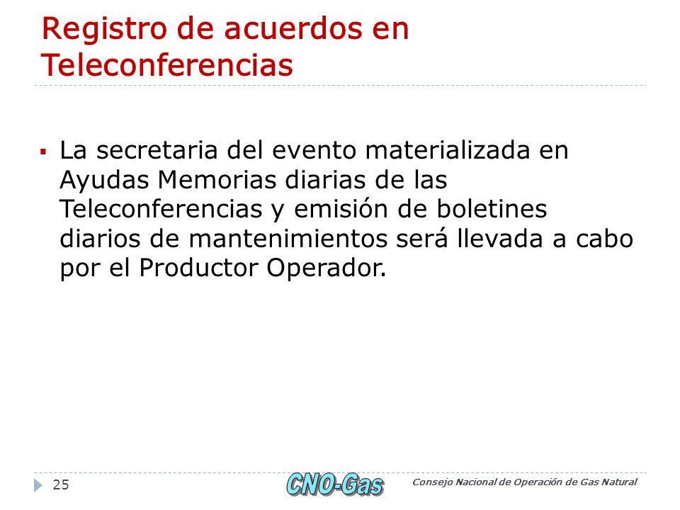 Registro de acuerdos en Teleconferencias La secretaria del evento materializada en Ayudas Memorias diarias de las Teleconferencias y emisión de boletines diarios de mantenimientos será llevada a cabo por el Productor Operador.