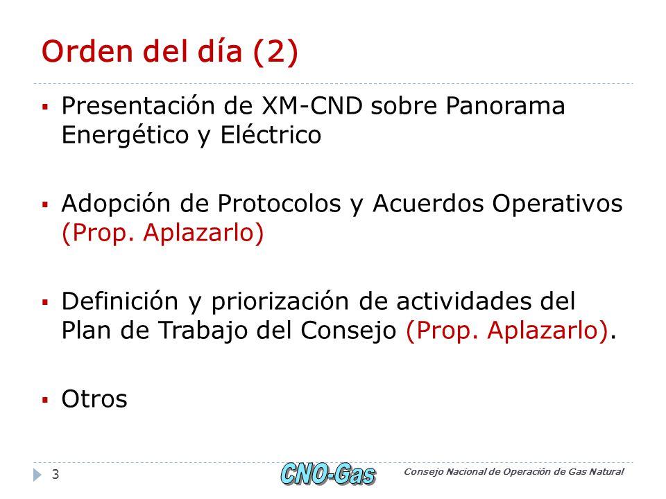 Orden del día (2) Presentación de XM-CND sobre Panorama Energético y Eléctrico Adopción de Protocolos y Acuerdos Operativos (Prop.