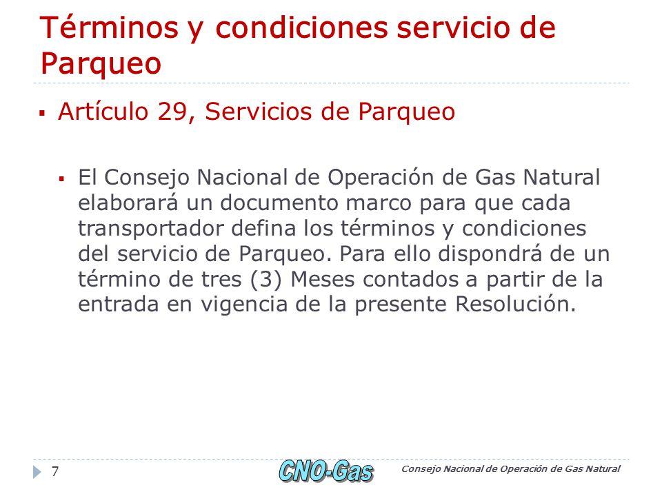 29.1 Condiciones generales para la prestación del servicio de Parqueo (CREG).