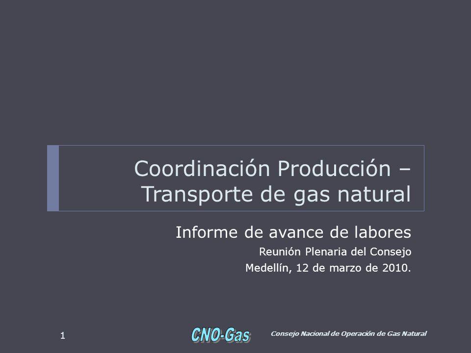 Coordinación Producción – Transporte de gas natural Informe de avance de labores Reunión Plenaria del Consejo Medellín, 12 de marzo de 2010.