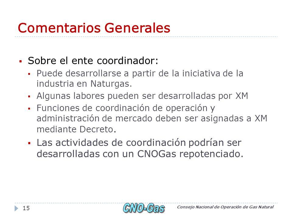 Comentarios Generales Sobre el ente coordinador: Puede desarrollarse a partir de la iniciativa de la industria en Naturgas.