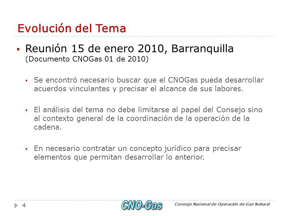 Evolución del Tema Reunión 15 de enero 2010, Barranquilla (Documento CNOGas 01 de 2010) Se encontró necesario buscar que el CNOGas pueda desarrollar acuerdos vinculantes y precisar el alcance de sus labores.