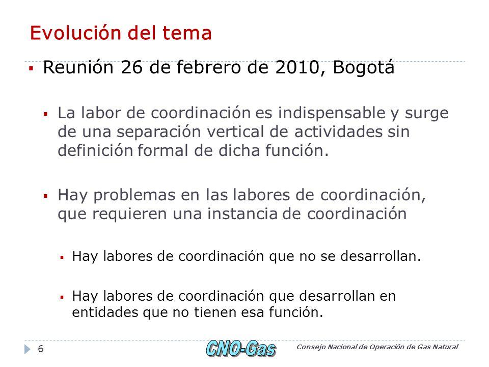 Evolución del tema Reunión 26 de febrero de 2010, Bogotá La labor de coordinación es indispensable y surge de una separación vertical de actividades sin definición formal de dicha función.