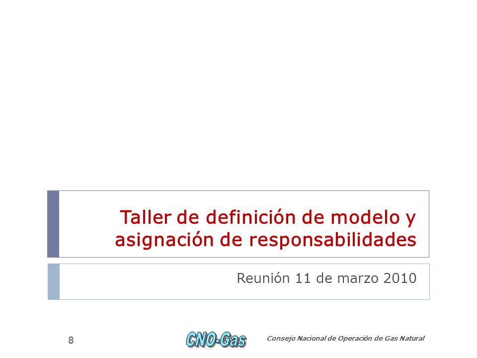 Taller de definición de modelo y asignación de responsabilidades Reunión 11 de marzo 2010 Consejo Nacional de Operación de Gas Natural 8