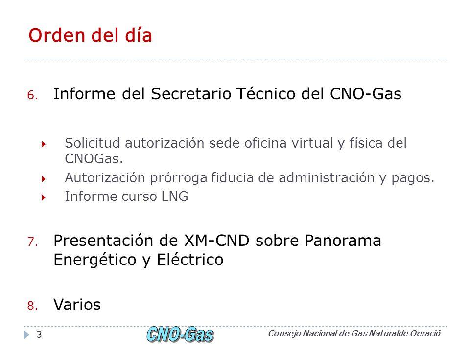 Orden del día 6. Informe del Secretario Técnico del CNO-Gas Solicitud autorización sede oficina virtual y física del CNOGas. Autorización prórroga fid