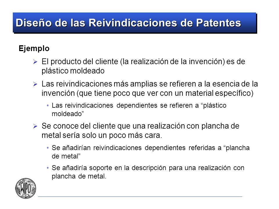 Diseño de las Reivindicaciones de Patentes Ejemplo El producto del cliente (la realización de la invención) es de plástico moldeado Las reivindicacion