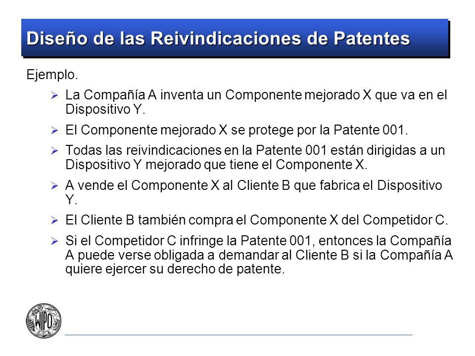 Diseño de las Reivindicaciones de Patentes Ejemplo. La Compañía A inventa un Componente mejorado X que va en el Dispositivo Y. El Componente mejorado