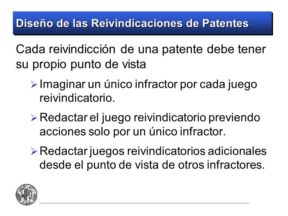 Diseño de las Reivindicaciones de Patentes Cada reivindicción de una patente debe tener su propio punto de vista Imaginar un único infractor por cada