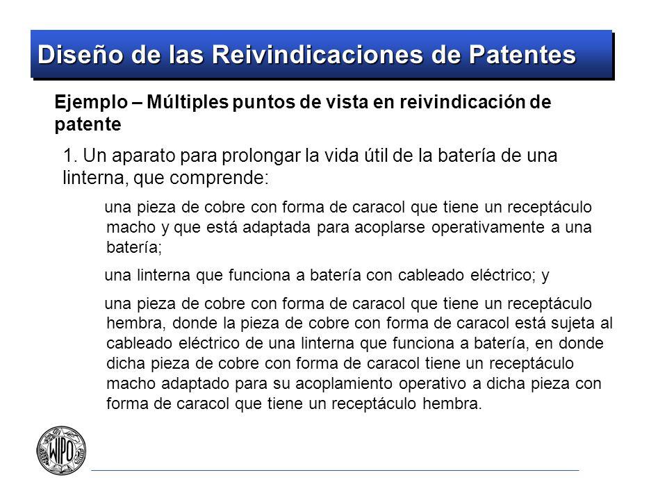 Diseño de las Reivindicaciones de Patentes Ejemplo – Múltiples puntos de vista en reivindicación de patente 1. Un aparato para prolongar la vida útil