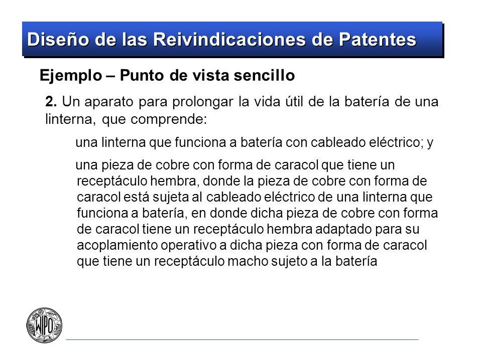 Diseño de las Reivindicaciones de Patentes Ejemplo – Punto de vista sencillo 2. Un aparato para prolongar la vida útil de la batería de una linterna,