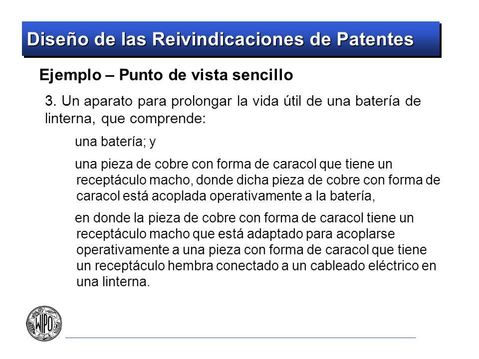 Diseño de las Reivindicaciones de Patentes Ejemplo – Punto de vista sencillo 3. Un aparato para prolongar la vida útil de una batería de linterna, que