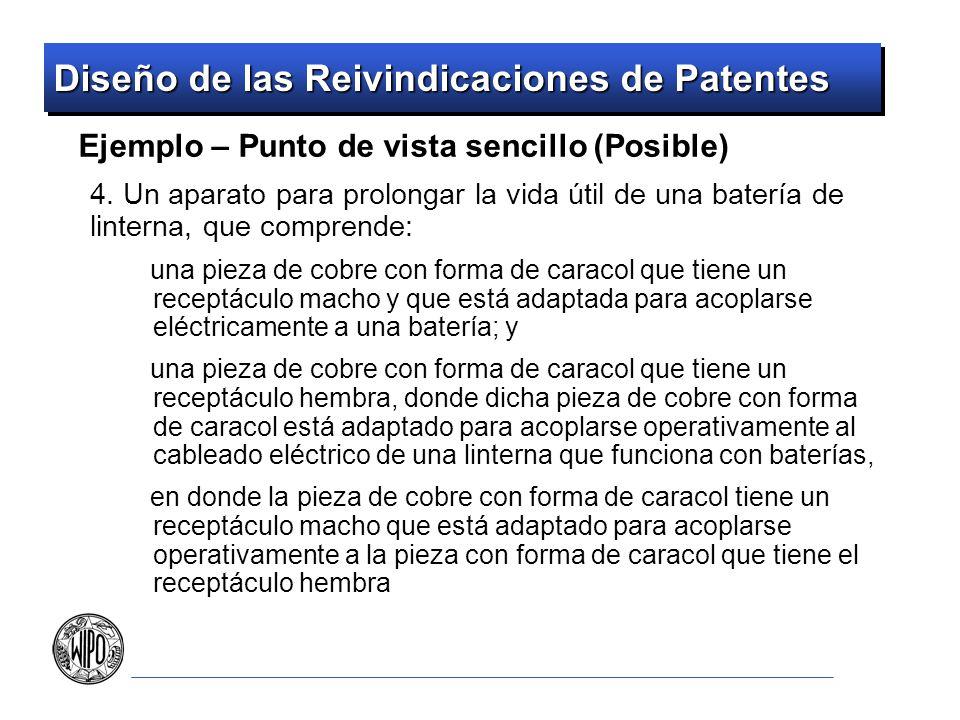 Diseño de las Reivindicaciones de Patentes Ejemplo – Punto de vista sencillo (Posible) 4. Un aparato para prolongar la vida útil de una batería de lin