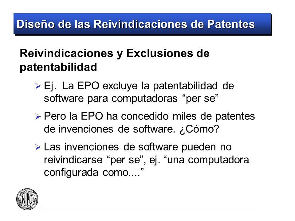Diseño de las Reivindicaciones de Patentes Reivindicaciones y Exclusiones de patentabilidad Ej. La EPO excluye la patentabilidad de software para comp
