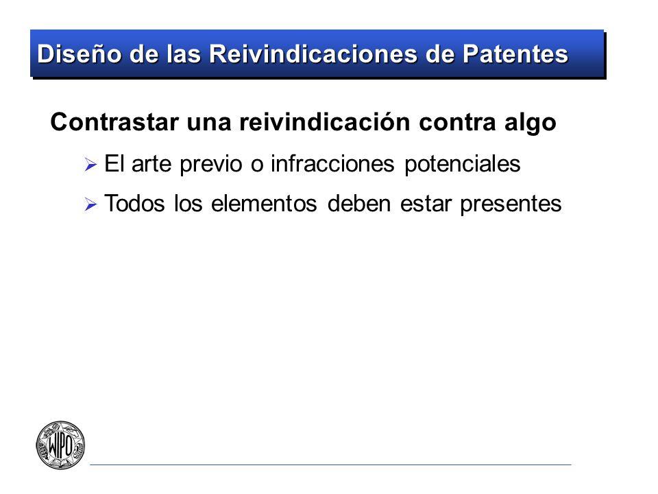 Diseño de las Reivindicaciones de Patentes Contrastar una reivindicación contra algo El arte previo o infracciones potenciales Todos los elementos deb