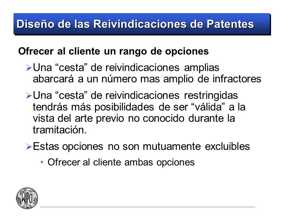 Diseño de las Reivindicaciones de Patentes Ofrecer al cliente un rango de opciones Una cesta de reivindicaciones amplias abarcará a un número mas ampl
