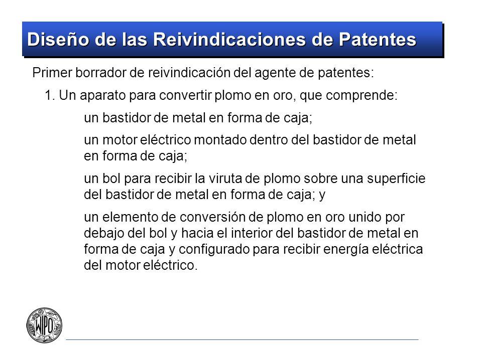 Diseño de las Reivindicaciones de Patentes Elección de palabras en la reivindicación Evitar limitaciones negativas en las reivindicaciones un neumático que no es macizo Establecer las limitaciones en términos positivos un neumático hueco A menos que la limitación no se pueda redactar de otra manera de color no-negro