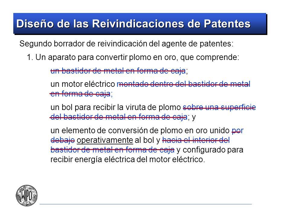 Diseño de las Reivindicaciones de Patentes Por lo menos una reivindicación de la solicitud debe contrastarse con lo que el cliente está haciendo realmente De lo contrario, defender los productos del cliente contra infracciones puede ser difícil El mercado de patentes es también difícil