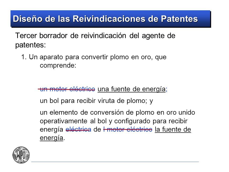Diseño de las Reivindicaciones de Patentes Contrastar una reivindicación contra algo El arte previo o infracciones potenciales Todos los elementos deben estar presentes
