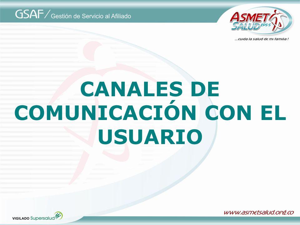 CANALES DE COMUNICACIÓN CON EL USUARIO