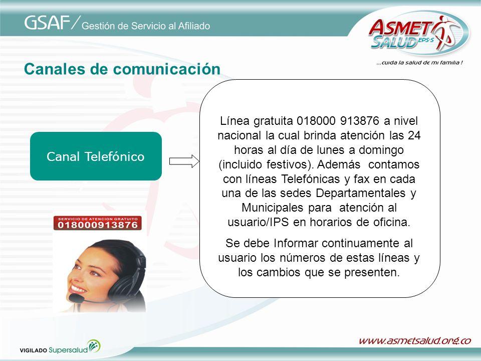Canal Telefónico Línea gratuita 018000 913876 a nivel nacional la cual brinda atención las 24 horas al día de lunes a domingo (incluido festivos). Ade