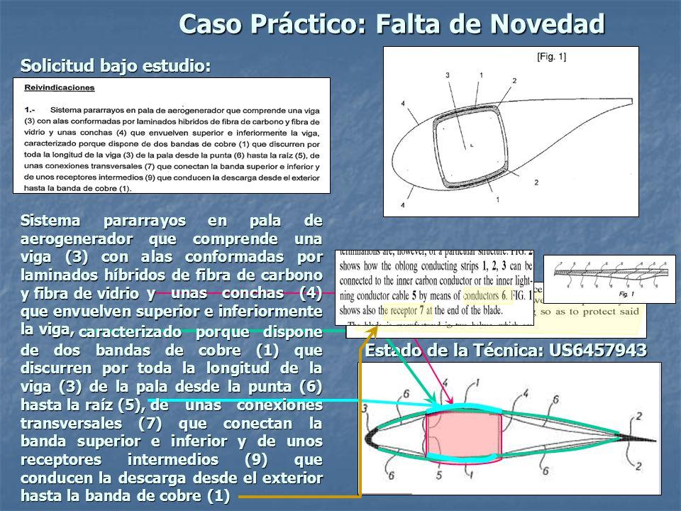 Caso Práctico: Falta de Novedad Solicitud bajo estudio: Estado de la Técnica: US6457943 Sistema pararrayos en pala de aerogenerador que comprende una