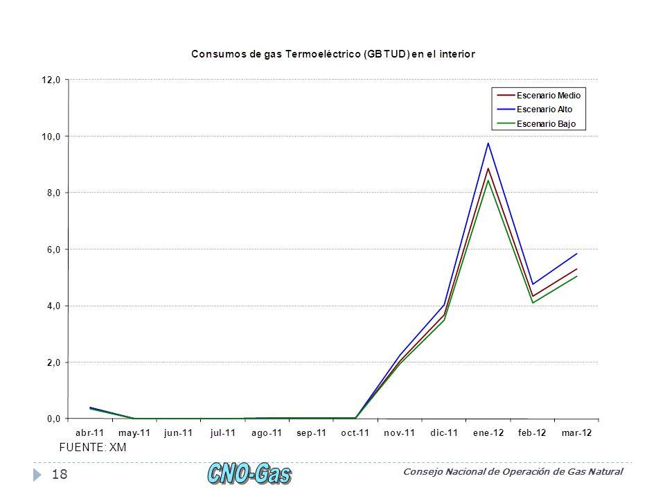 Consejo Nacional de Operación de Gas Natural 18 FUENTE: XM