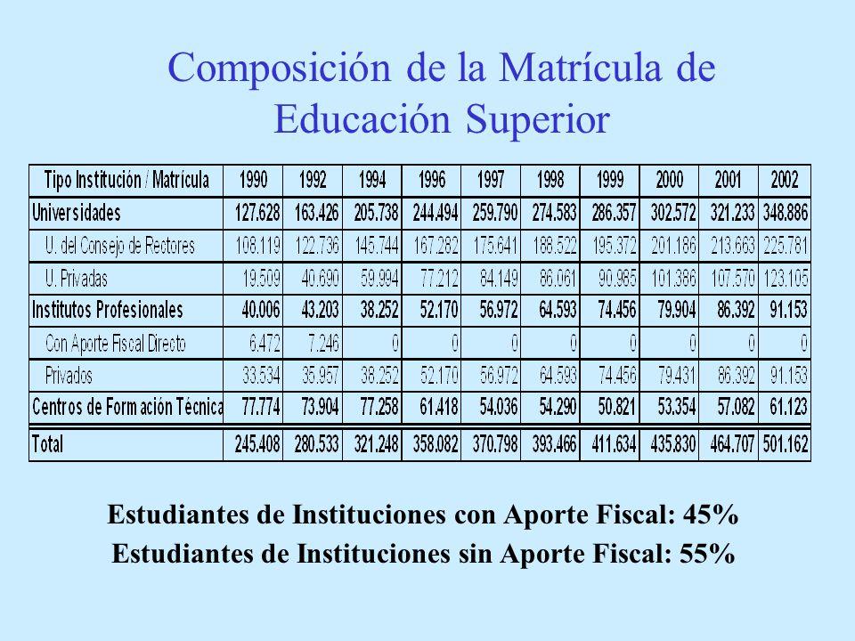 Estudiantes de Instituciones con Aporte Fiscal: 45% Estudiantes de Instituciones sin Aporte Fiscal: 55% Composición de la Matrícula de Educación Superior