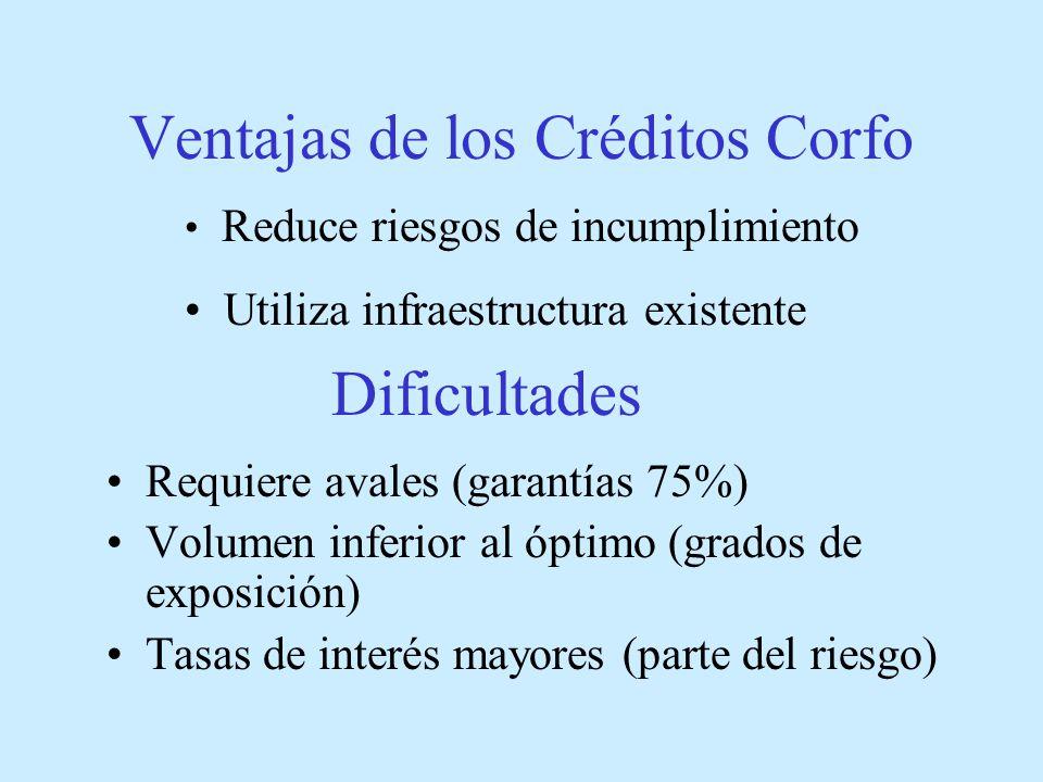Ventajas de los Créditos Corfo Requiere avales (garantías 75%) Volumen inferior al óptimo (grados de exposición) Tasas de interés mayores (parte del riesgo) Dificultades Reduce riesgos de incumplimiento Utiliza infraestructura existente