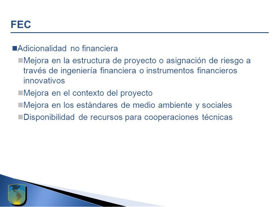 FEC Adicionalidad no financiera Mejora en la estructura de proyecto o asignación de riesgo a través de ingeniería financiera o instrumentos financieros innovativos Mejora en el contexto del proyecto Mejora en los estándares de medio ambiente y sociales Disponibilidad de recursos para cooperaciones técnicas