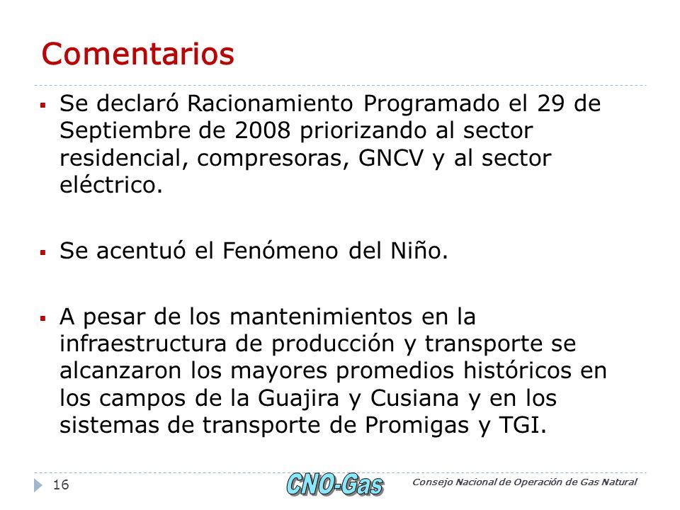 Comentarios Se declaró Racionamiento Programado el 29 de Septiembre de 2008 priorizando al sector residencial, compresoras, GNCV y al sector eléctrico.