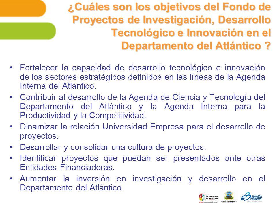 ¿Cuáles son los objetivos del Fondo de Proyectos de Investigación, Desarrollo Tecnológico e Innovación en el Departamento del Atlántico .