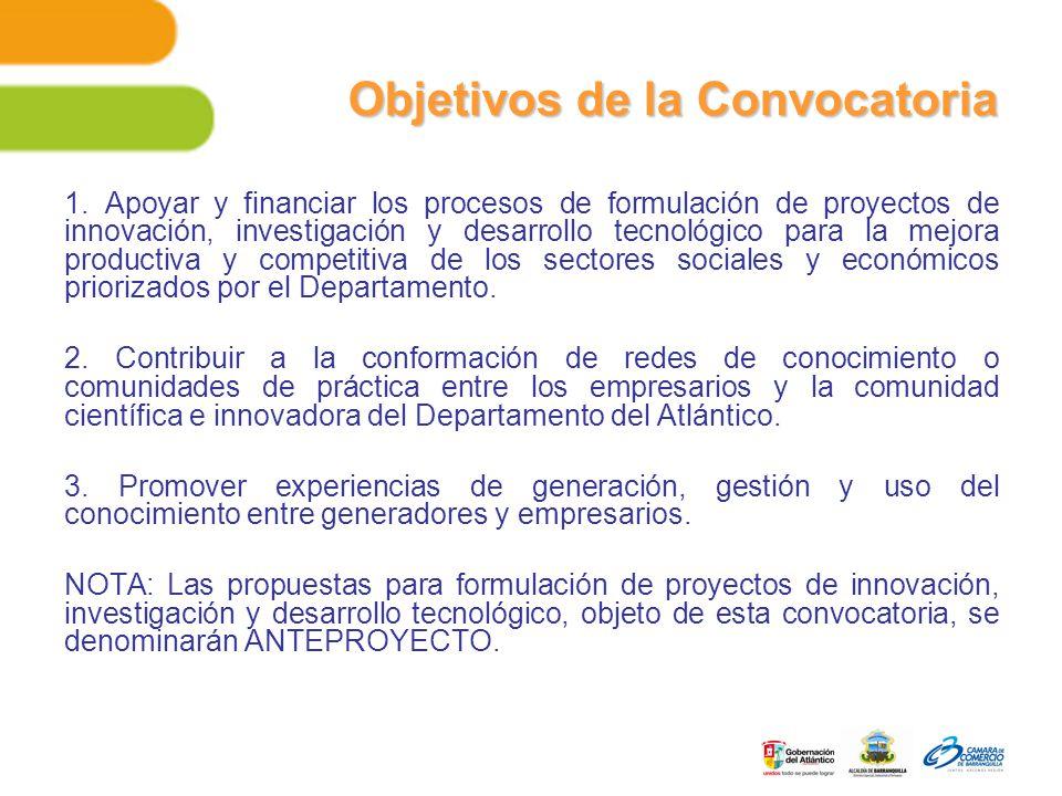 1. Apoyar y financiar los procesos de formulación de proyectos de innovación, investigación y desarrollo tecnológico para la mejora productiva y compe