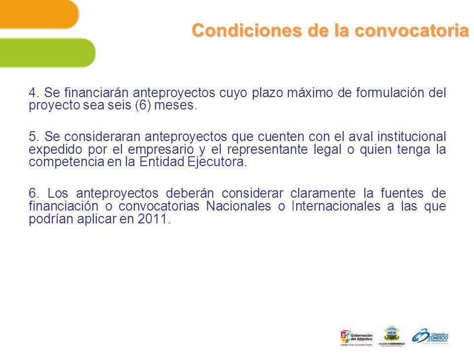 Condiciones de la convocatoria 4.