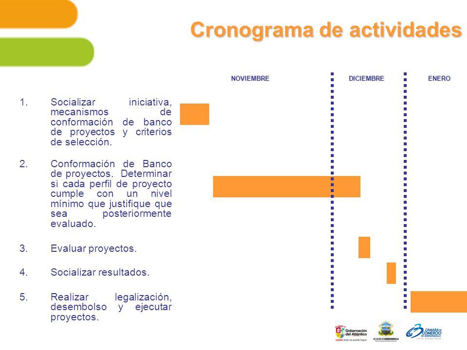 Cronograma de actividades 1.Socializar iniciativa, mecanismos de conformación de banco de proyectos y criterios de selección.