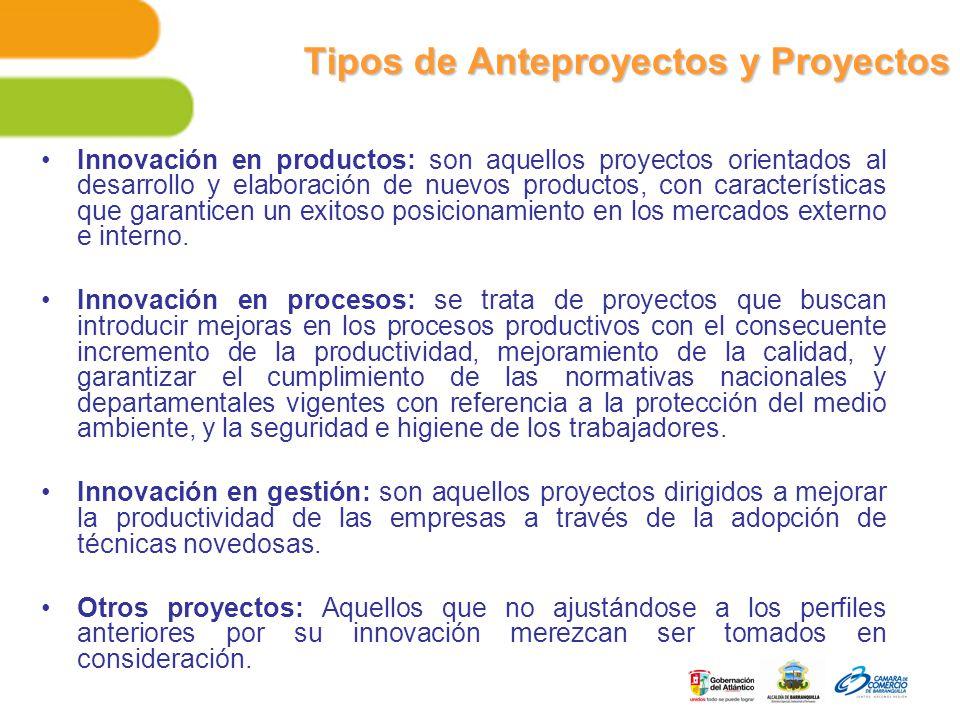 Tipos de Anteproyectos y Proyectos Innovación en productos: son aquellos proyectos orientados al desarrollo y elaboración de nuevos productos, con características que garanticen un exitoso posicionamiento en los mercados externo e interno.