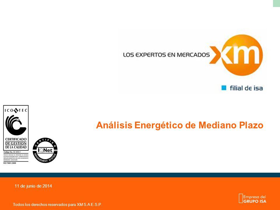 Todos los derechos reservados para XM S.A E.S.P. 11 de junio de 2014 Análisis Energético de Mediano Plazo