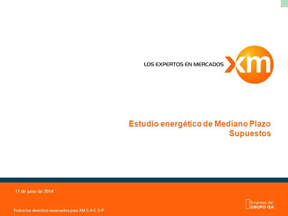 Todos los derechos reservados para XM S.A E.S.P. 11 de junio de 2014 Estudio energético de Mediano Plazo Supuestos