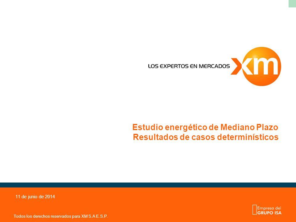 Todos los derechos reservados para XM S.A E.S.P. 11 de junio de 2014 Estudio energético de Mediano Plazo Resultados de casos determinísticos