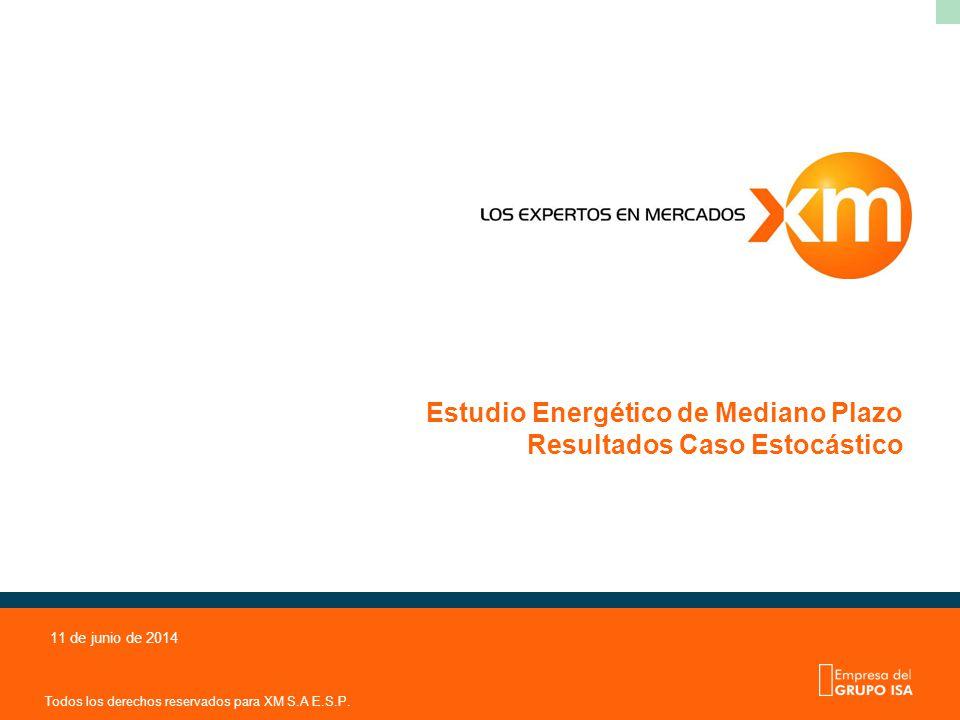 Todos los derechos reservados para XM S.A E.S.P. 11 de junio de 2014 Estudio Energético de Mediano Plazo Resultados Caso Estocástico