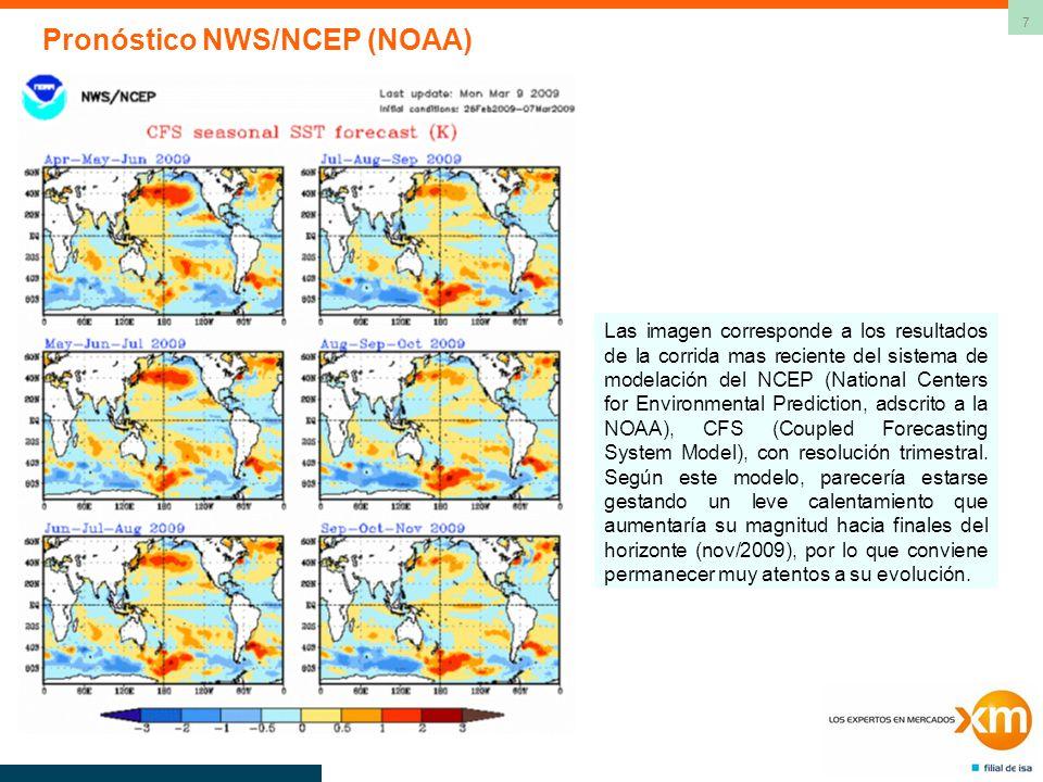 7 Las imagen corresponde a los resultados de la corrida mas reciente del sistema de modelación del NCEP (National Centers for Environmental Prediction, adscrito a la NOAA), CFS (Coupled Forecasting System Model), con resolución trimestral.
