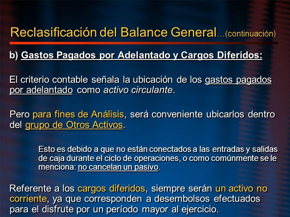 Reclasificación del Balance General …(continuación) b) Gastos Pagados por Adelantado y Cargos Diferidos: El criterio contable señala la ubicación de l