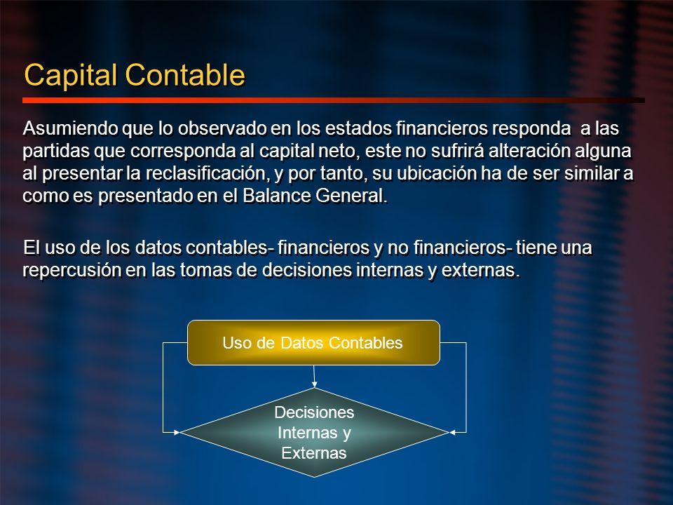 Capital Contable Asumiendo que lo observado en los estados financieros responda a las partidas que corresponda al capital neto, este no sufrirá altera