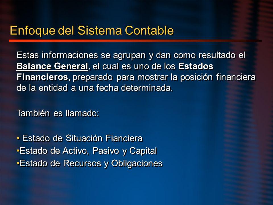Enfoque del Sistema Contable Estas informaciones se agrupan y dan como resultado el Balance General, el cual es uno de los Estados Financieros, prepar